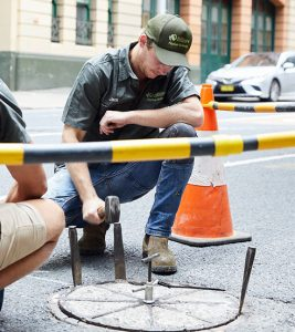 The Relining Company staff fixing a city sewer