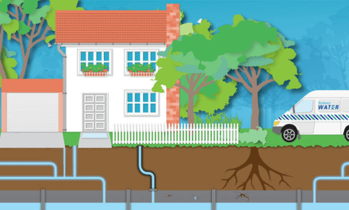 An illustration of a house and trees with pipes flowing underneath